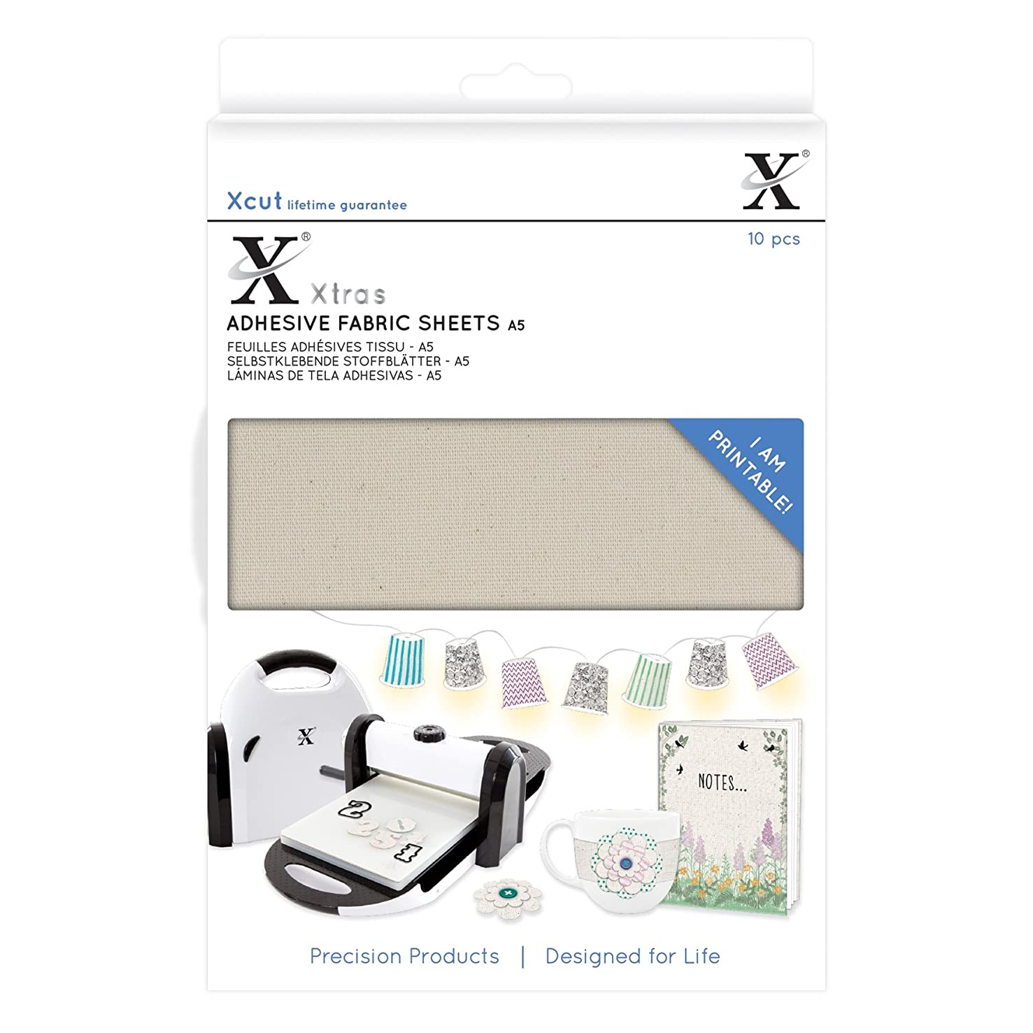 DOCrafts XCU174404 Xcut Xtra A5 Adhesive Fabric Sheets (10 Pack), Beige
