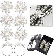Weddings Dinner Parties Snowflake Family Gathering Hiprecky 6PCS Christmas Napkin Rings Napkin Holder Napkin Rings Holder Adornment for Halloween Thanksgiving
