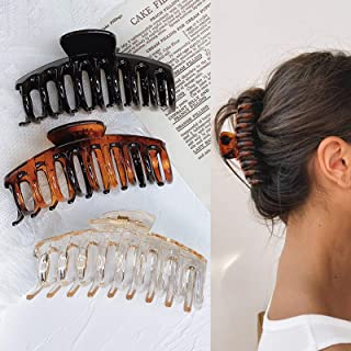 Hair Claw Clips for Thick Hair - 3pcs 4.3'' Plastic Nonslip Jumbo Hair Clips Strong Hold Hair Jaw Clips Big Hair Clips Fre...