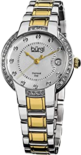 Burgi Women's Diamond and Swarovski Crystals Watch - 11 Genuine Diamond Hour Markers, Swarovski Crystals On Bezel on Stainless Steel Bracelet - BUR077