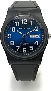 Mens Water Resistant Miykon Watch Day Date Plastic Case Rubber Band Fashion Watch