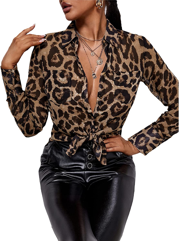 SheIn Women's Leopard Print Long Sleeve Blouse Button Down Sheer Top Shirt