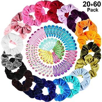 20 Colores Velvet Elástico Hair Scrunchies + 60 pcs Pinza de Pelo, PAMIYO Elásticos De Banda Pelo Stretchy Multicolor De Terciopelo Accesorios Para El Cabello Ponytail Titular Para Niñas Accesorios: Amazon.es: Belleza