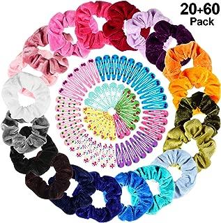 20 Pcs Hair Scrunchies Elastic Velvet Hair Bands, TUTUWEN Handmade Soft Hair Ties Ropes Hair Scrunchy for Women Girls[20 Assorted Colors], Bonus with 60pcs Hair Clips of 10 colors