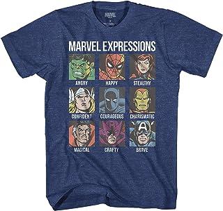 Marvel Avengers Expression Moods Spider-Man Hulk Thor Iron Man Black Panther Strange America Mens Adult T-Shirt