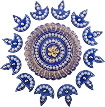 D'JazZ™ Handcrafted Decorative showpiece Multicolour Jewel Stone/Diya Decorations On Blue Acrylic Base Floor Rangoli (13 Piece Set)