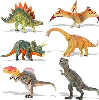 QuadPro Dinosaur Toys Sets for Kids, 6 Piece Jumbo Plastic Dinosaurs Figures Include Triceratops, Brachiosaurus, Spinosaurus,Stegosaurus, Pterodactylus, T Rex Toy, STEM Toys for Boys and Girls