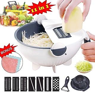 VAESIDA Vegetable Slicer Cutter - 11 in 1 Multi Blade Adjustable Mandoline Slicer Cheese Vegetables Julienne Slicer with Drain Basket - Best Veggie Cheese Shredder Grater Set with Fruit Peeler