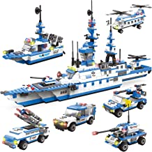WishaLife 1230 Pieces City Police Station Building Kit, 6 in 1 Missile Patrol Boat Building Toy, Police Car Toy, City Sets with Cop Car, Ship & Airplane with Storage Box for Boys and Girls 6-12