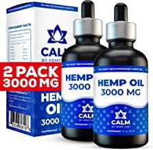 Hemp Oil Extract for Pain and Anxiety Relief - 2-Pack 3000 MG - Helps with Sleep, Skin & Hair - Grown & Made in USA - 100% Natural Peppermint Drops