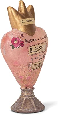 DEMDACO Forever Blessed Floral Pink 8 x 6 Paper Mache Heart Sculpture Figurine