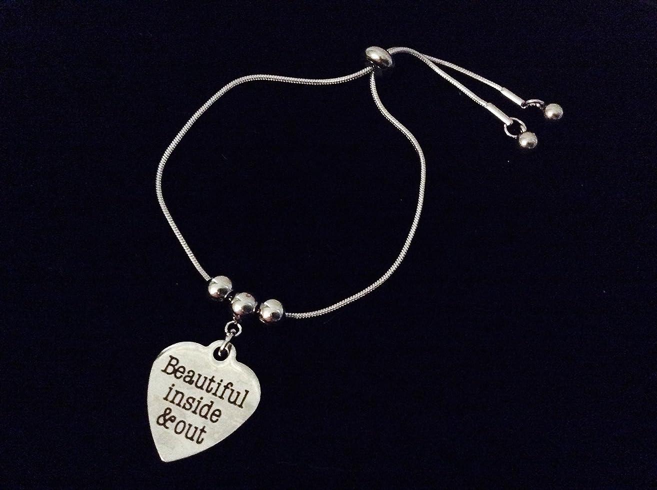 Beautiful Inside and Out Adjustable Bolo Bracelet Stainless Steel Adjustable Bracelet Slider Charm Bracelet Gift One Size Fits All
