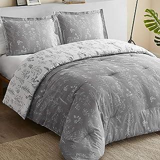 Bedsure Floral Queen Comforter Set - Reversible Flowers and Plants Printed Botanical Queen Bed Comforter Set, 3 Pieces Bed...