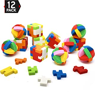 Big Mo's Toys Puzzle Erasers - Individually Wrapped Goody Bag Party Favor and Stocking Stuffers Pencil Eraser - 6 Balls and 6 Cubes