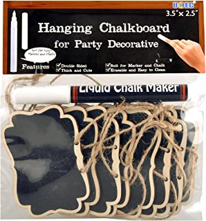UCEC Mini Erasable Chalkboards,Double Sided Blackboard with Hanging String,Suit for Markers&Chalks for Message Board Signs,Food Labels,Wedding Parties,pack of 12