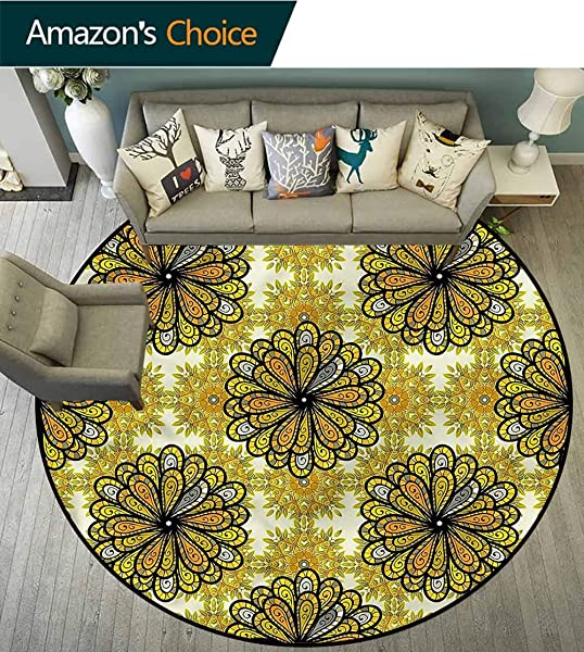 RUGSMAT Yellow Mandala Round Kids Rugs Asian Spring Nature Floor Mat Home Decor Diameter 35