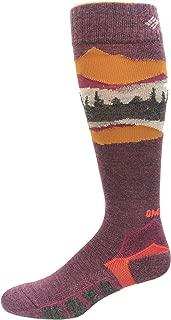 Columbia Omni Heat Ski Over the Calf Mountain Range Medium Weight Socks 1 Pair, Black Cherry, Medium