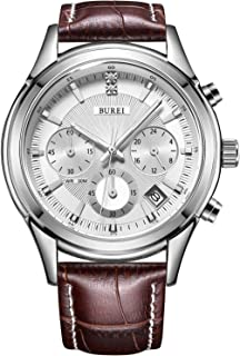 BUREI Men's Watch Chronograph Quartz Mineral Lens with Date and Genuine Leather Strap