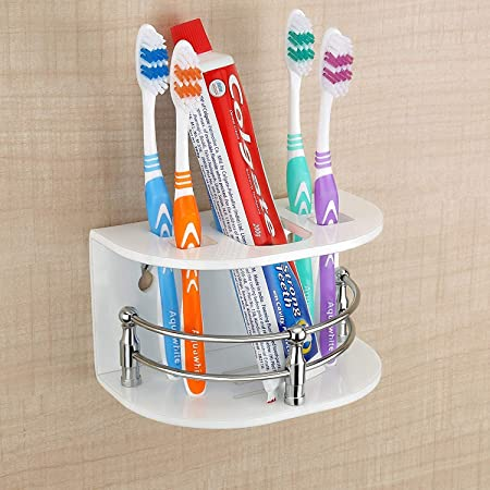 MK MART Tooth Paste Brush Holder/Stand/Tumbler for Bathroom Accessories for Home/Acrylic Bathroom Toothbrush Holder Toothpaste Holder Stand with Screw