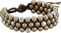 Chan Luu - Triple Stacked Single Wrap Bracelet with Crystal Pearls