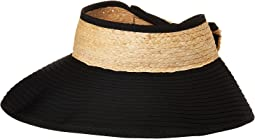 San Diego Hat Company - RBV001OS Ribbon Visor w/ Adjustable Raffia Bow Closure