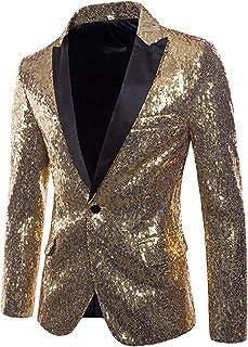 Charmlinda Men's Sequin Blazer Suit Jacket Luxury Dress Suit Jacket Shiny Notch Lapel Slim Fit Blazer Tuxedo Jackets for P...