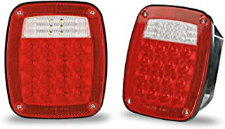 Wellmax 12V 2PC Universal LED Trailer Tail Lights, Brake, Stop, Backup, Reverse, Turn Signal with 38 Red, White LEDs