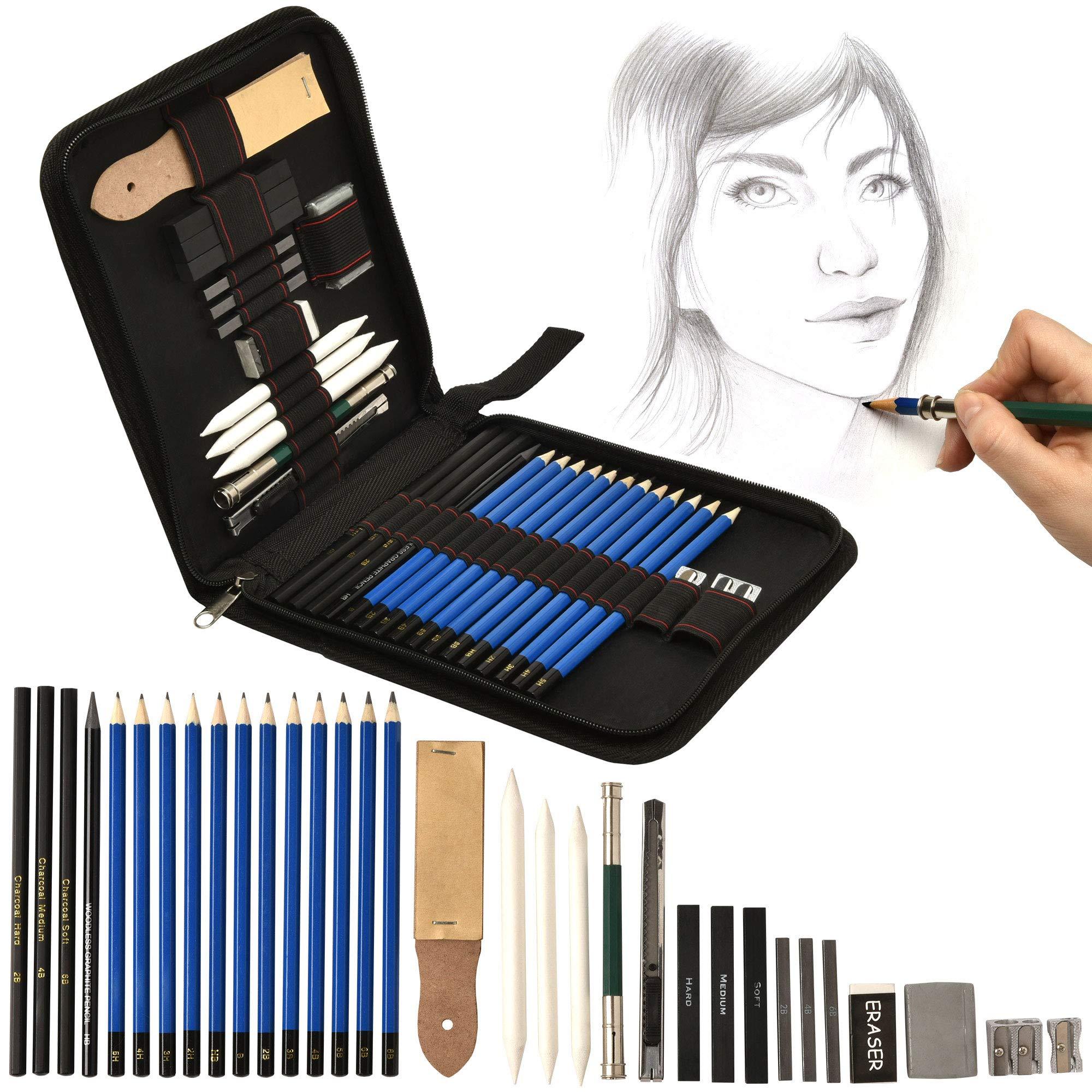Artina Set de lápices de Dibujo Bari de 33 Piezas con Estuche - Set Diferentes lápices, carbón, Goma de borrar, sacapuntas etc.: Amazon.es: Hogar