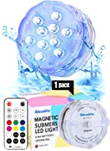 Idealife Magnetic Submersible LED Light- Remote Controlled AA Battery Operated WRGB Colorful Waterproof Light Underwater Spa Hot Tub Pool Pond Lights Mood Night Light Timer Home Party Christmas Decor