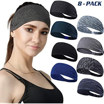 DASUTA Set of 8 Women's Yoga Sport Athletic Workout Headband for Running Sports Travel Fitness Elastic Wicking Non Slip Lightweight Multi Style Bandana Headbands Headscarf fits All Men & Women