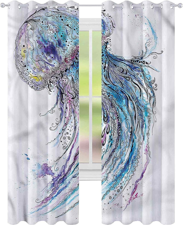 Window Max 40% OFF Curtain Drape Jellyfish Aqua Colors W52 Ranking TOP16 Creative x Bl L84