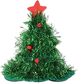 Tinsel Christmas Tree Hat (Pack of 12)