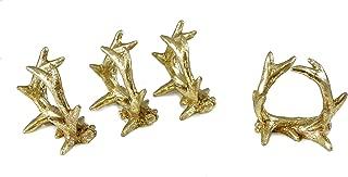 Caffco Metallic Deer Antler Napkin Rings - Set of 4