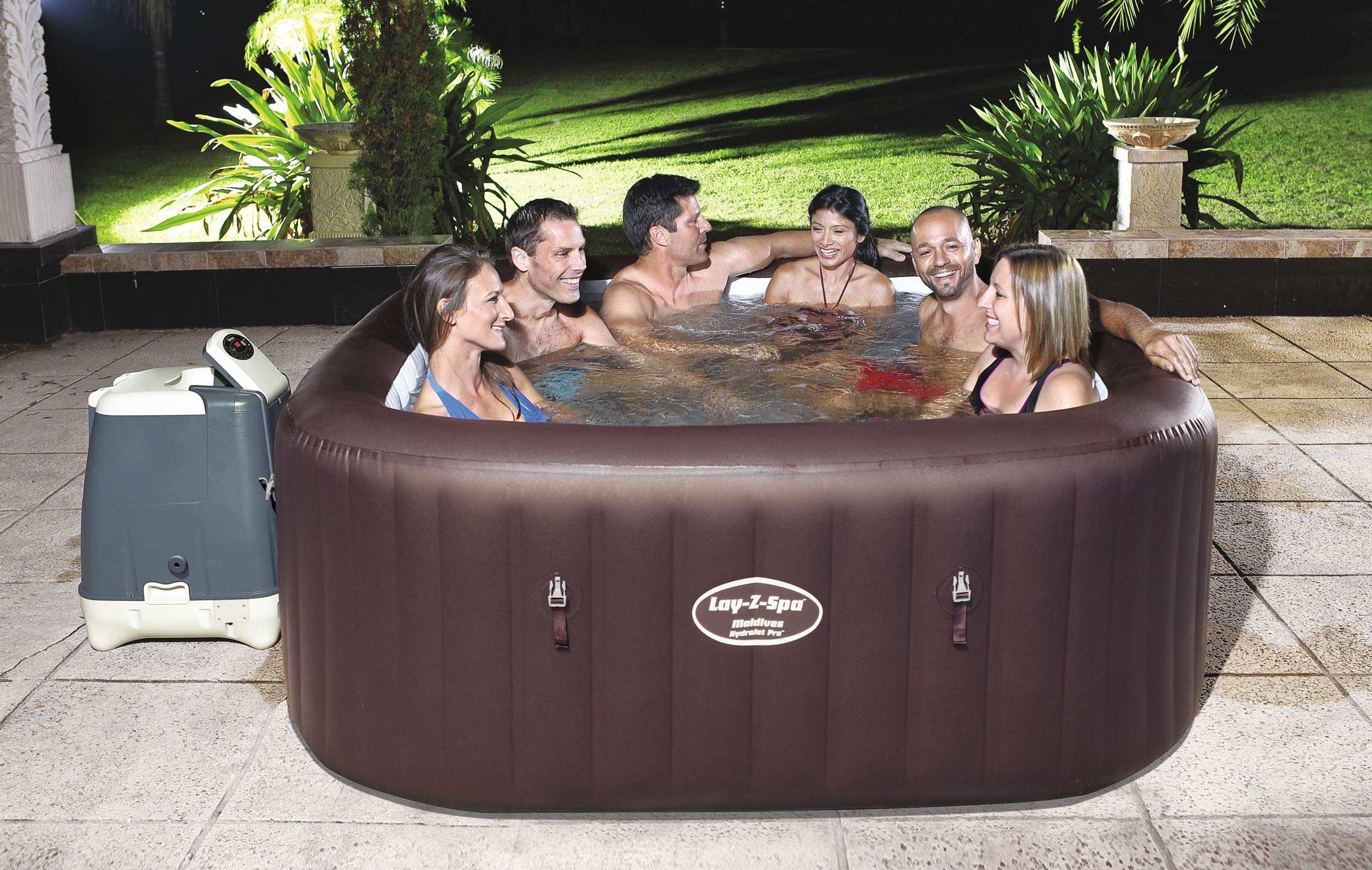 BESTWAY 54173 - Spa Hinchable Lay-Z-Spa Maldives Para 5-7 personas Cuadrado: Amazon.es: Jardín