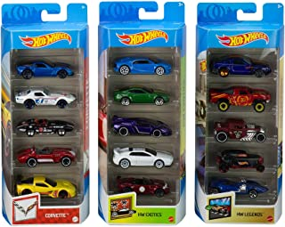 Hot Wheels Variety Fun 5 Pack Bundle of 15 1:64 Scale Vehicles with 3 Themes Corvette, HW Exotics, HW Legends for Collecto...