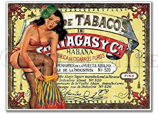 """Cuban Cigar Art Print Vintage Style Pinup Girl Poster PARTAGAS - Measures 24"""" high x 18"""" Wide (610mm high x 458mm Wide)"""