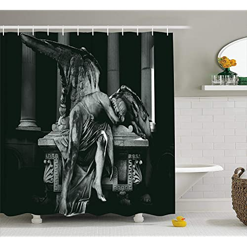 Ambesonne Sculptures Decor Collection Angel Architecture Monuments Sadness Gothic Mysticism Themed Greek Artwork Print