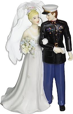 Appletree Design The Perfect Wedding Marine Groom and Bride Figurine, 7-1/4-Inch Tall