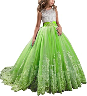 Wedding Flower Girls Dress Lace Tulle Dance Pageant Gown with Bow