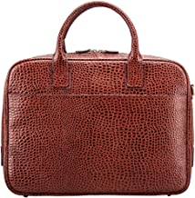 Maxwell Scott Men's Faux Croc Leather Soft Briefcase - Calvino Croco Tan