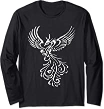 Phoenix Bird White Tribal Tattoo Design Long Sleeve T-Shirt