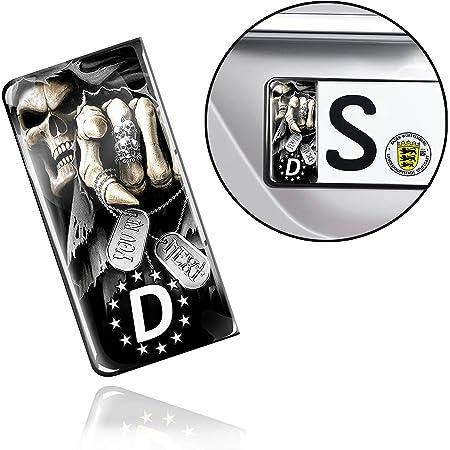 Skinoeu 2 X 3d Gel Silikon Nummernschild Kennzeichen Jdm Aufkleber Stickers Tuning Auto Motorrad Schädel Skull Eu Qs 13 Auto