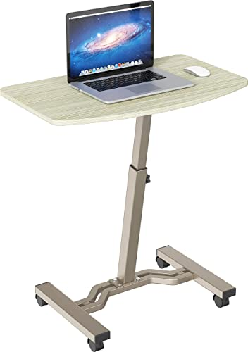 SHW Height Adjustable Mobile Laptop Stand Desk Rolling Cart, Height Adjustable from 28'' to 33'', Gray