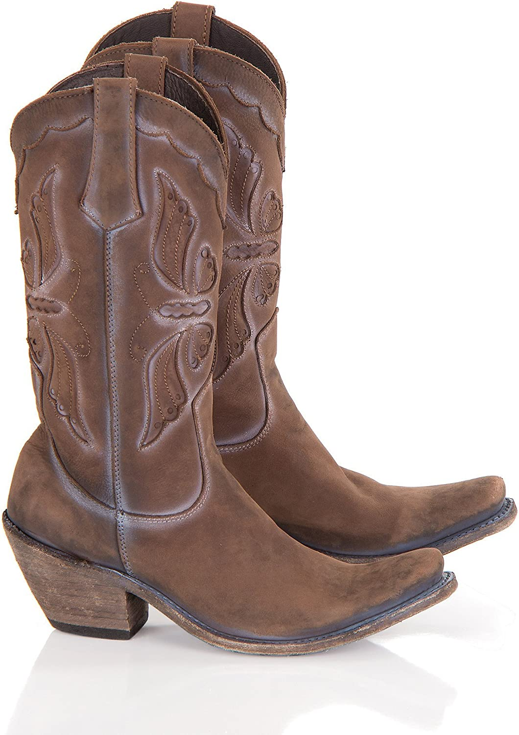 LIBERTY BLACK Women's Butterfly Distressed Leather Cowboy Boots
