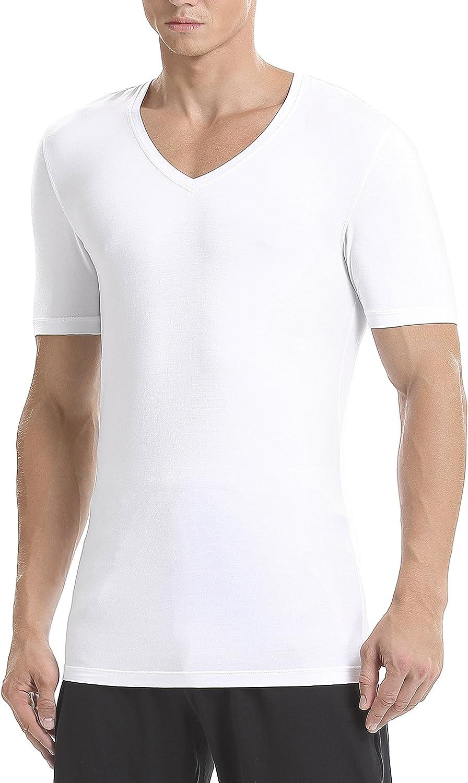 DAVID ARCHY Men's Undershirts Soft Micro Modal V-Neck Breathable T-Shirts 3 Pack