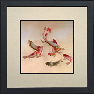 SpecialArt Silk Art 100% Handmade Embroidery Framed Nine Red & White Japanese Koi with Retro Style Oriental Wall Hanging Art Asian Decoration Tapestry Artwork Picture Gifts (05: Nine Koi)