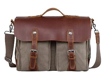 TSD Brand Hudson Canvas Messenger Bag (Olive) Messenger Bags