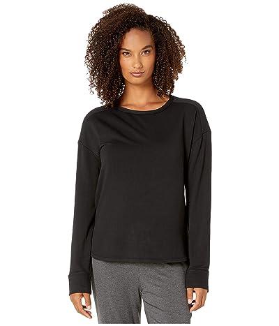 Donna Karan French Terry Long Sleeve Top (Black) Women