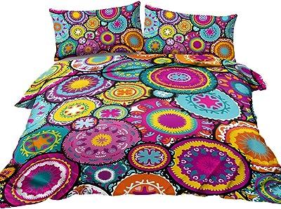 BlessLiving Boho Bedding Colorful Moroccan Duvet Cover Purple Pink Teal Orange 3 Piece Medallion Bedspread Full Size