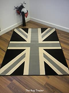 Funky Retro Buckingham Black Grey Union Jack Rug 120cm x 160cm